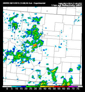 HRRR simulated Radar Reflectivity for 3pm (MDT)